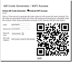 QR Code Generator WiFi Access